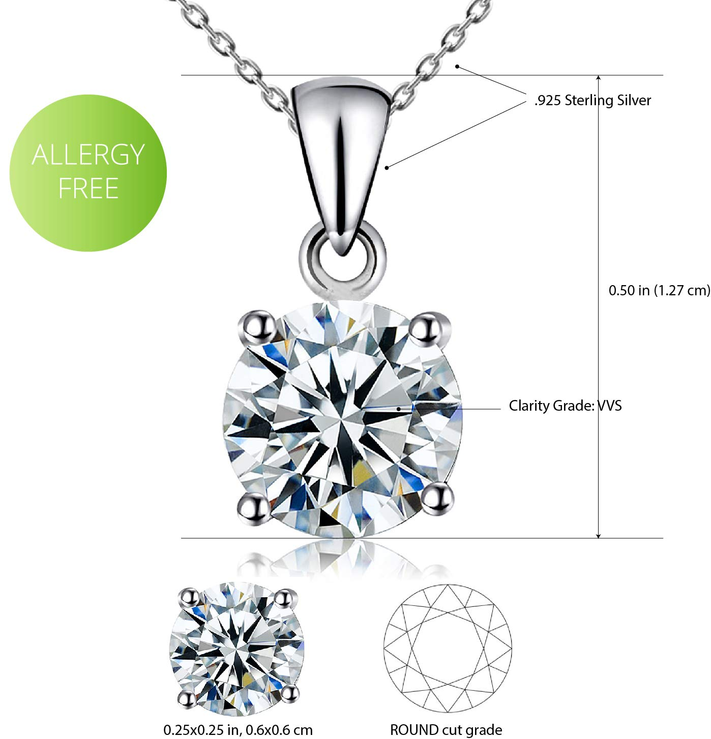 Kigmay Jewelry 925 Sterling Silver 2ct Clear Cubic Zirconia Solitaire Pendant Necklace Women, 16\