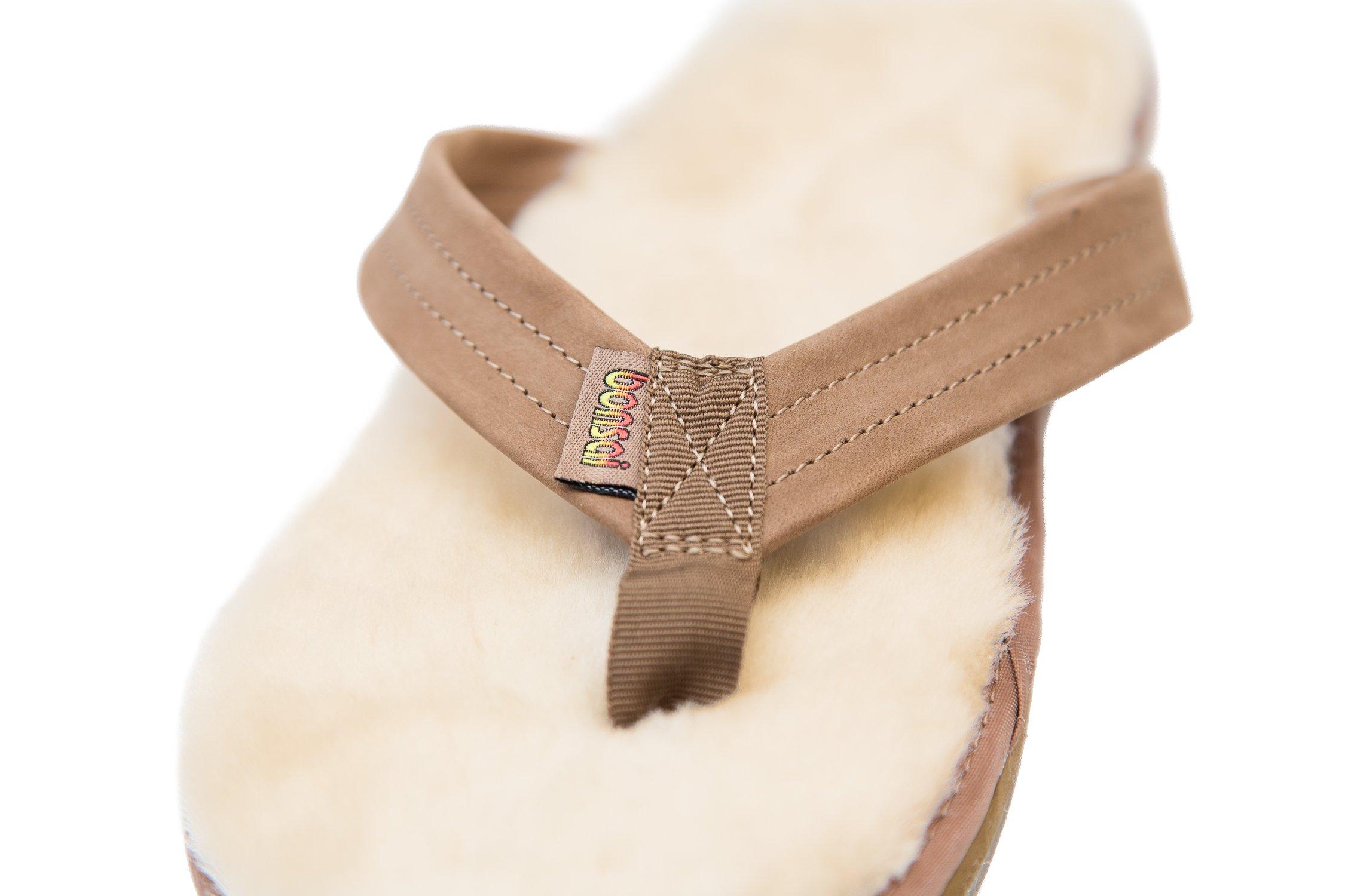 Bonsai Men's Sheepskin Sandal Flip Flops, Brown, 12 US by Bonsai Sandals (Image #6)