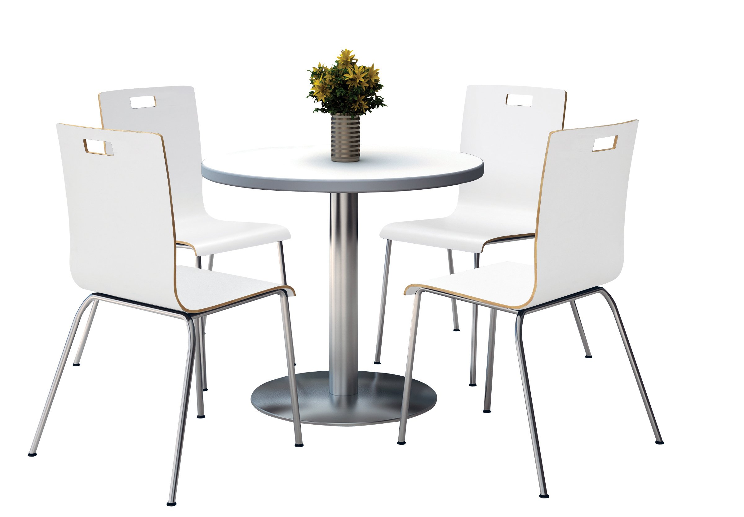 KFI Seating Round Laminate Top Pedestal Table with 4 White Stacking Bentwood Chairs, 36'' Diameter, Crisp Linen by KFI Seating