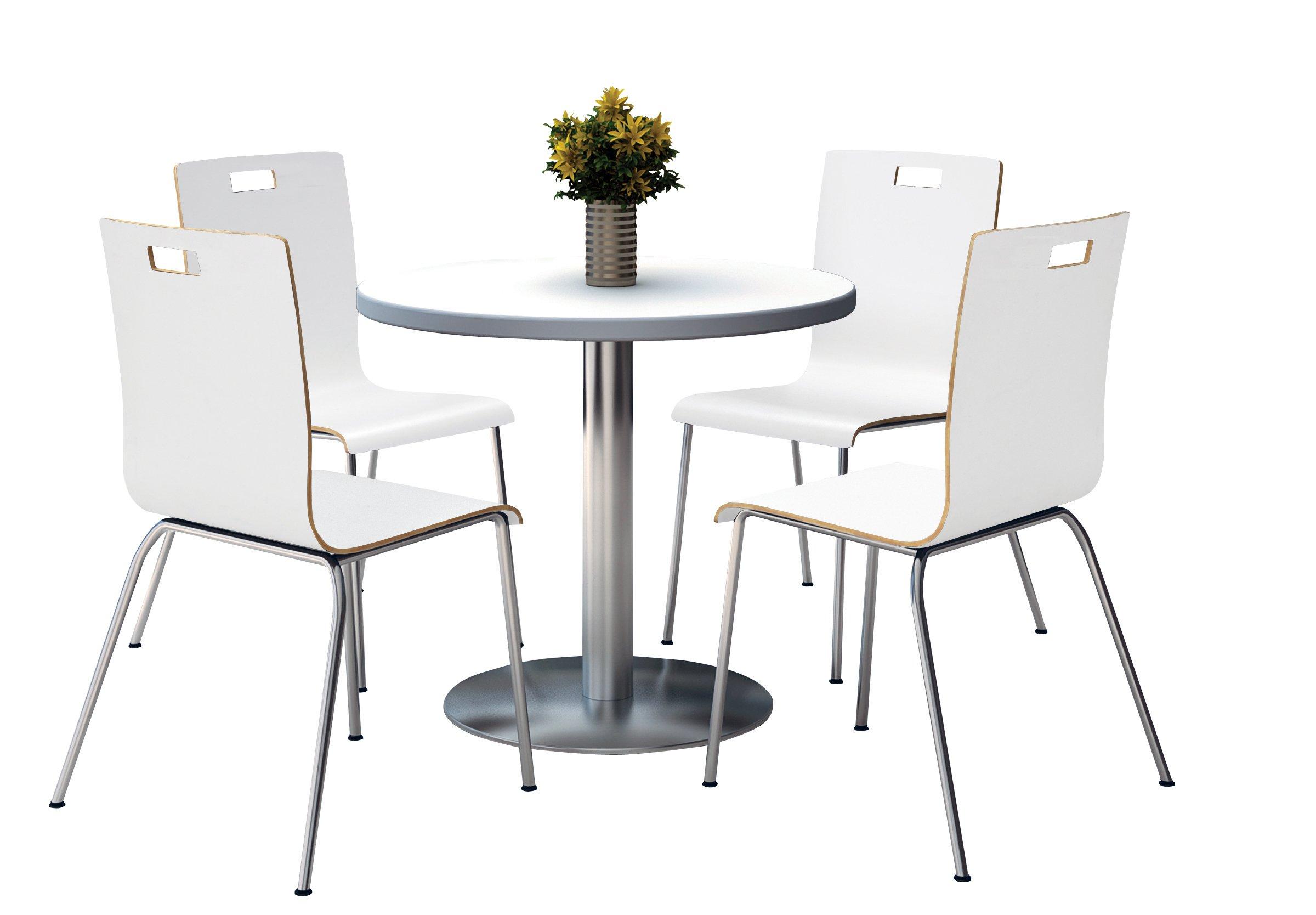 KFI Seating Round Laminate Top Pedestal Table with 4 White Stacking Bentwood Chairs, 36'' Diameter, Crisp Linen