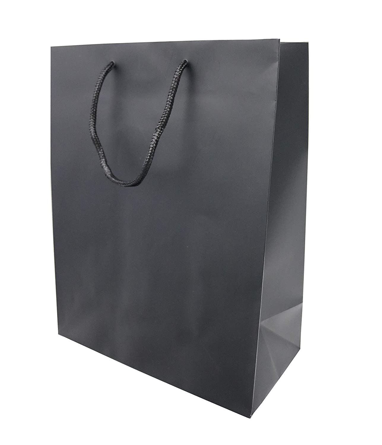 "Black Matte Euro Tote Paper Shopping Bags, Reusable Sacks with Reinforced Cardboard Gusset and Thick Top Handle for Better Grip, Great for Gifts, Party Favors, Goodies, and More -10"" L x 5"" W x 13"" H - (25 Count, Black) - Creative Bag 2BM"