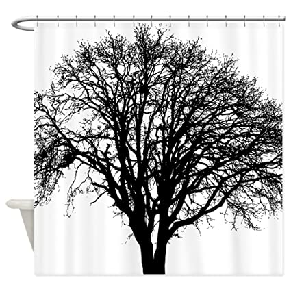 Amazoncom Cafepress Black White Tree Silhouette Shower Curtain