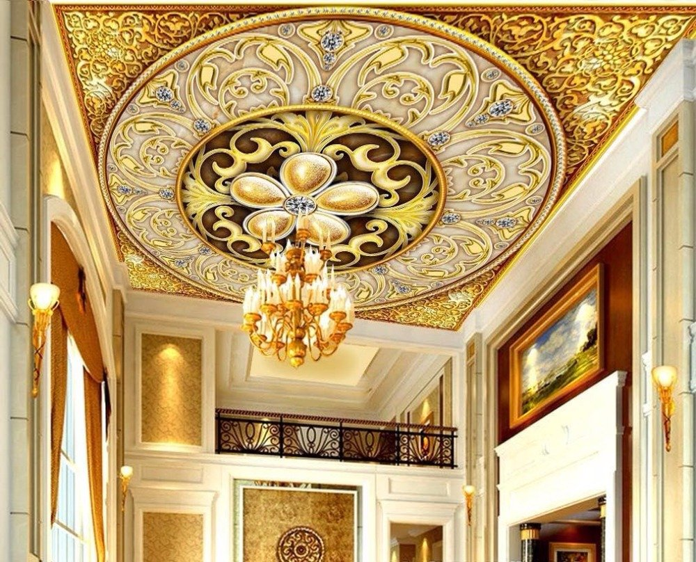 Buy Nostalagia Large 3d Ceiling Murals Fabric Wallpaper For Walls Living Room And Bathroom Ceiling Yellow Online At Low Prices In India Amazon In