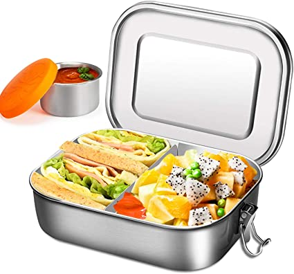 Stainless Steel Lunch Box Food Storage Containers Bento Boxes Home Office