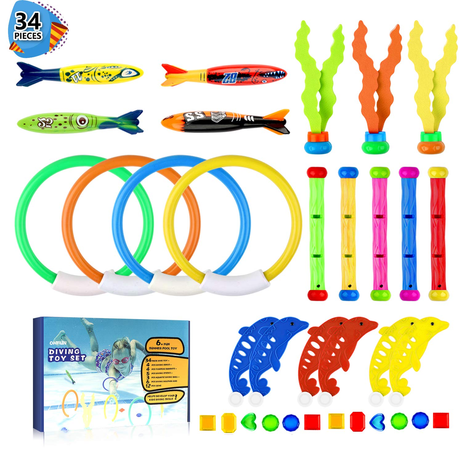 Baby Products Bath Toys Underwater Diving Pool Toys 19PCS Set Diving Rings Diving Toypedo Diving Sticks Aquatic Dive Balls Swimming Fish Swimming Pool Toys For Kids With Carrying Bag