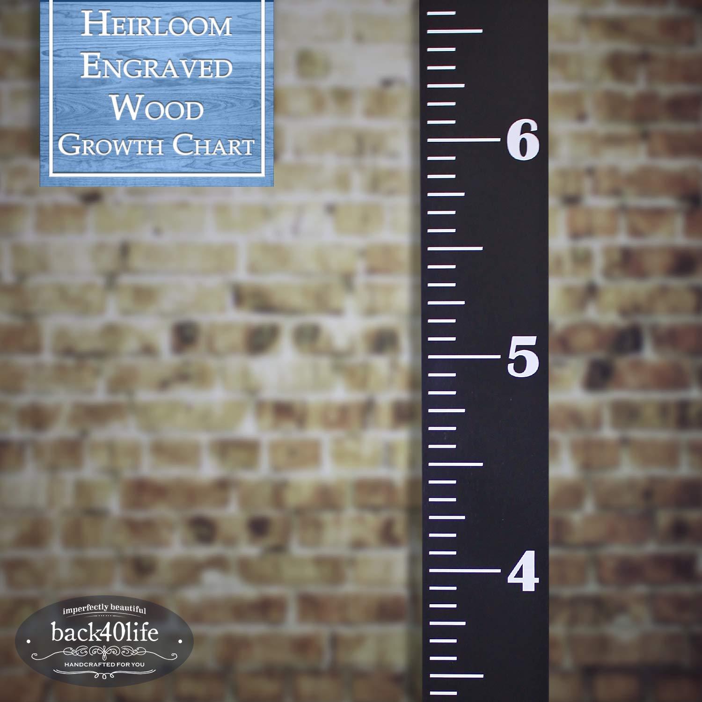 Back40Life White + Black The Establishment Heirloom Engraved Series - Wooden Growth Chart Height Ruler