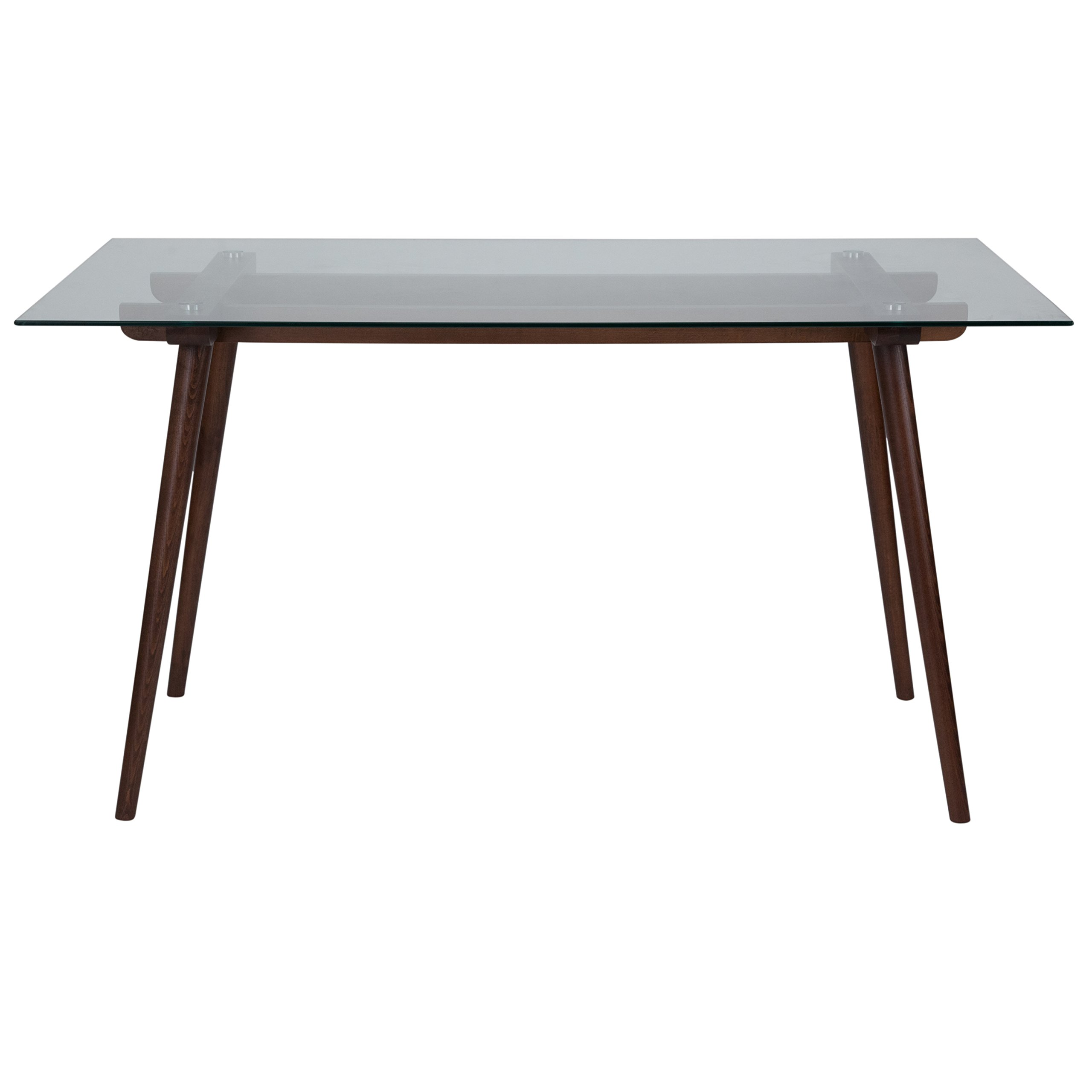 Flash Furniture Meriden 31.5'' x 55'' Solid Walnut Wood Table with Clear Glass Top by Flash Furniture (Image #2)