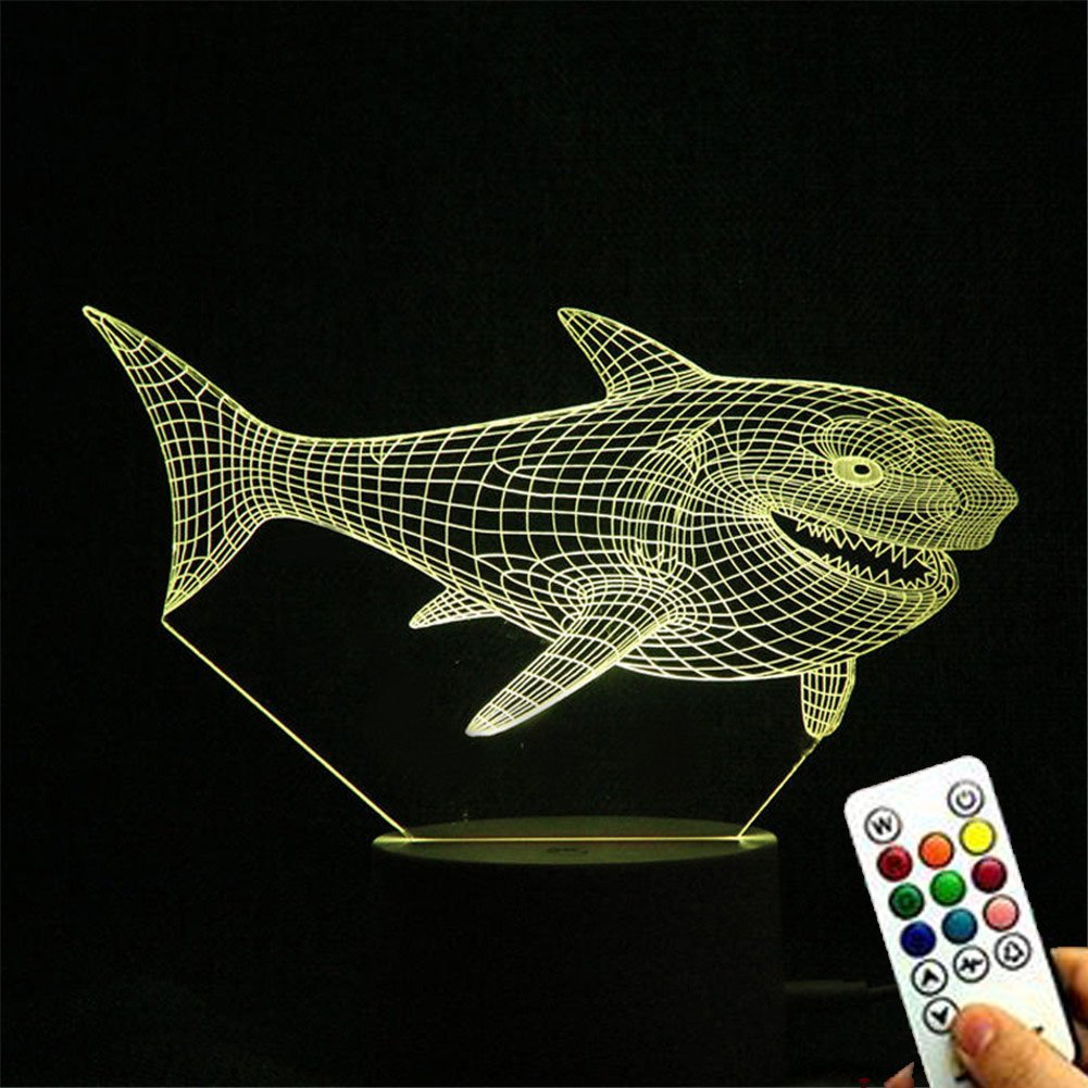 TRADE 3D Visual Marine Animal Shark 15 Key Remote Control Touch Acrylic Panel LED 7 Color Home Decoration Children Gifts Bedside Night Light