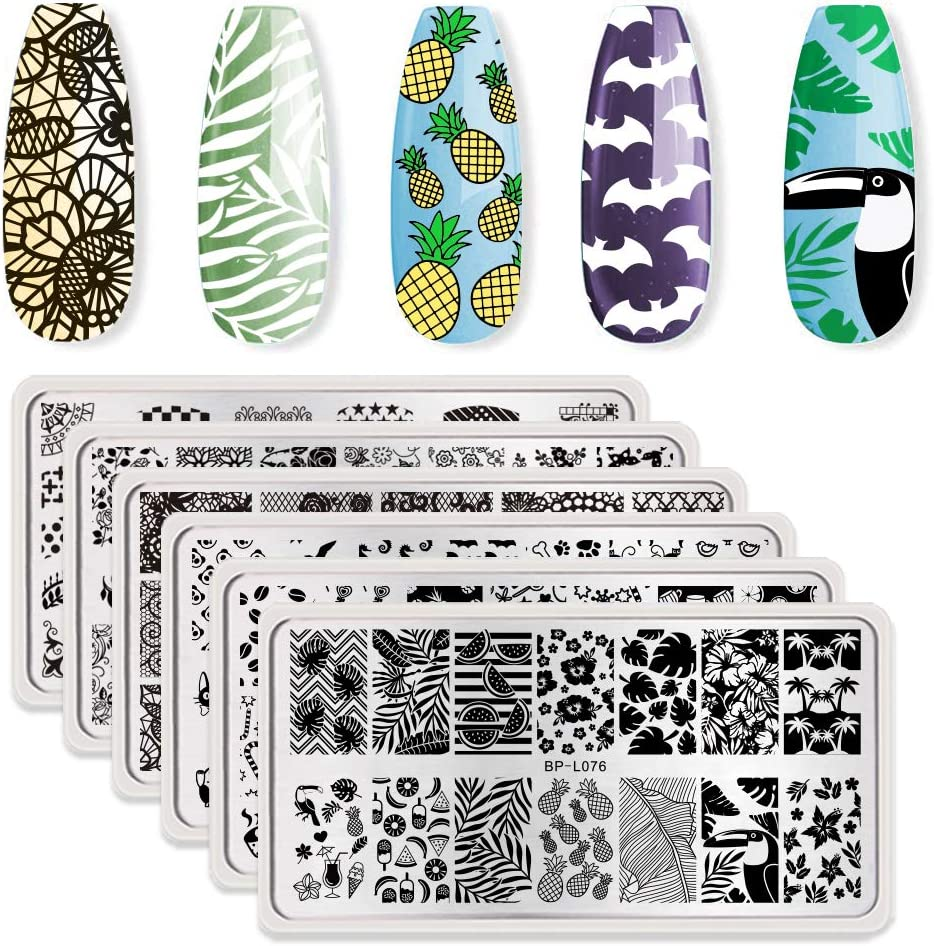 BORN PRETTY Nail Art Stamping Plates Set, Food, Bunnies, Flowers, Lace, Tropical, French Tip Themes Manicuring DIY Nail Templates Plates Print Tool Set