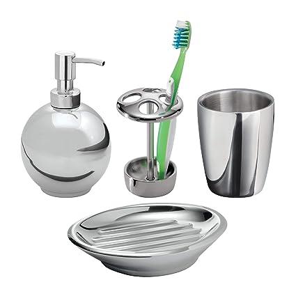 mDesign Juego de 4 accesorios de baño en acero inoxidable – Elegante set de baño con