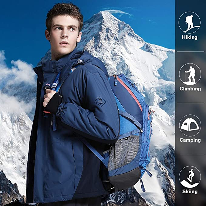 CAMEL CROWN Herren Mountain Snow wasserdichte Skijacke abnehmbare Kapuze Winddicht Fleece Parka Regenjacke Wintermantel