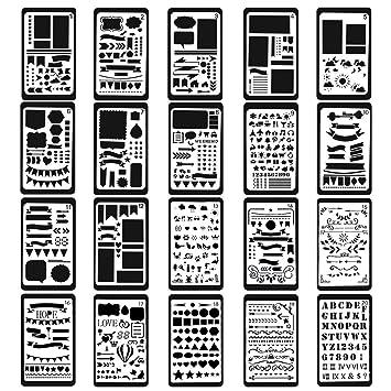 Plantillas de plástico de Bullet Journal, 20 unidades, más de 1000 patrones diferentes,