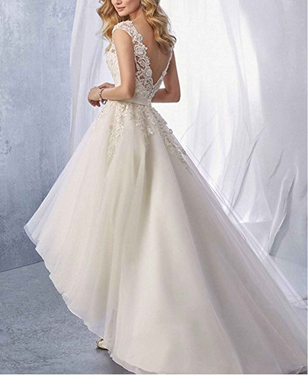 Ruiyuhong Organza Beach Wedding Dress High Low Reception Gowns Multi-Layer Skirt LH12