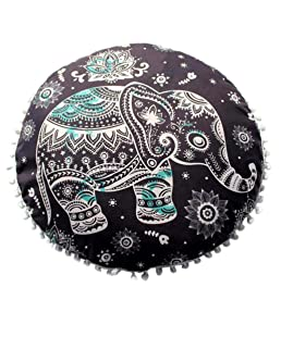 "Lisin 17.017.0"" Indian Mandala Pillows Round Bohemian Home Cushion Pillows Cover Case Cushions (G)"
