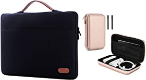 ProCase 14-15.6 Inch Laptop Sleeve Case Protective Bag Bundle with Hard Storage Carrying Case for MacBook Air/Pro Power Adapter