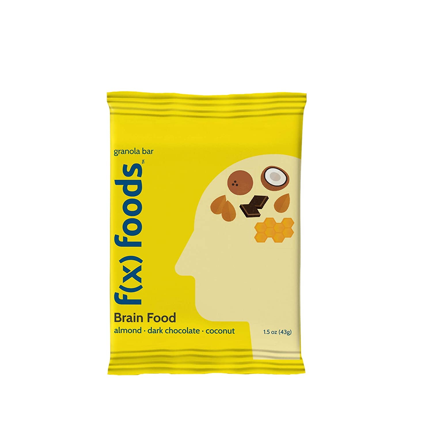 f(x) foods - Function Foods - Brain Food Bar - Granola Bar - Gluten Free - 11 Wholesome Ingredients - No Artificial Preservatives, Sweeteners or Dyes - (1.5 oz, 18 pack) (18)
