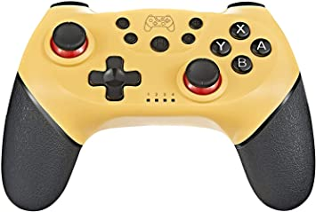 Tanouve Mando para Nintendo-Switch, Controlador Inalámbrico para Nintendo- Switch Pro/PC Gamepad Bluetooth Inalámbrico con Doble Choque Vibración Controlador (Amarillo): Amazon.es: Electrónica