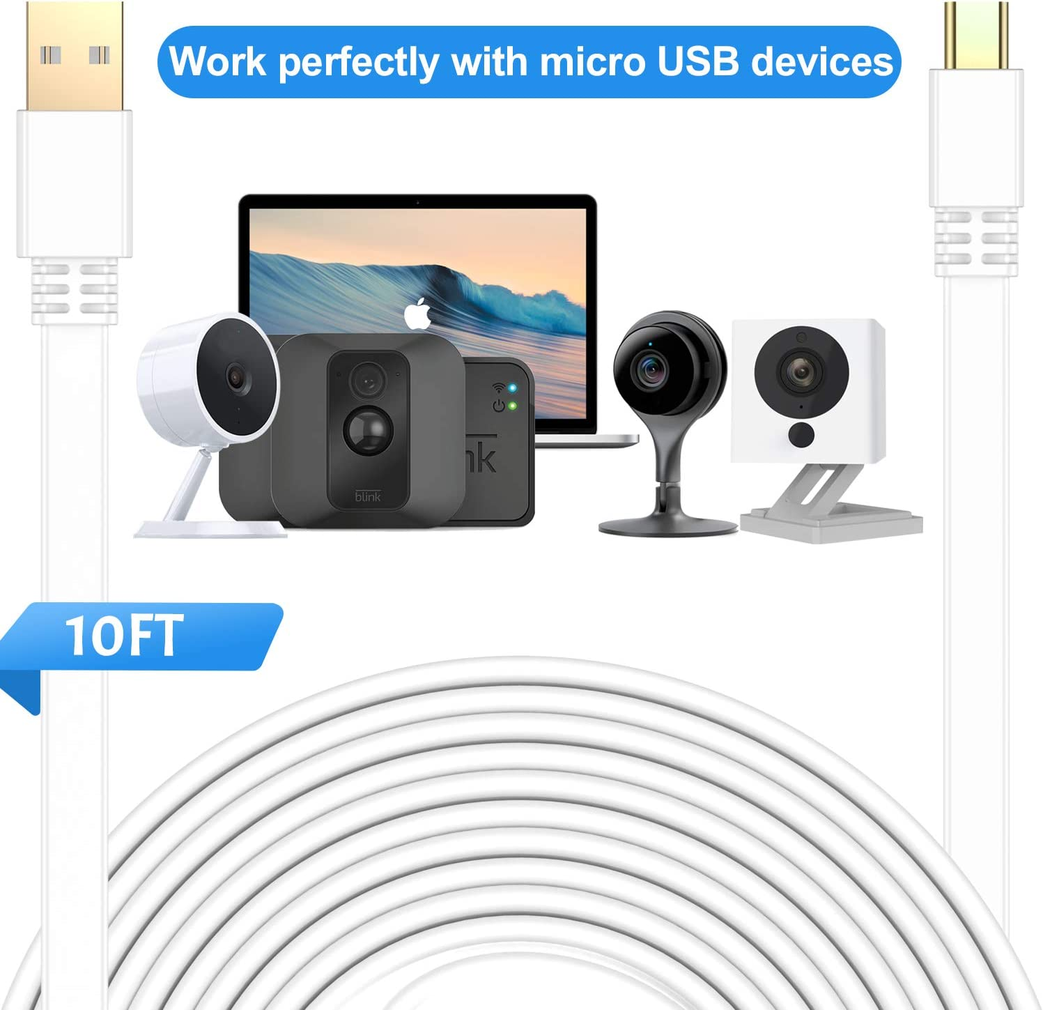 30FT//9M, Black Elebase Micro USB Power Cable 30 Feet ,Flat Micro USB Charging Cord,Charger for Wyze Cam Pan,Yi Cam,Nest Cam,Blink XT Camera,Furbo Dog,Arlo Q,Netvue,Xbox One Controller 2 Pack