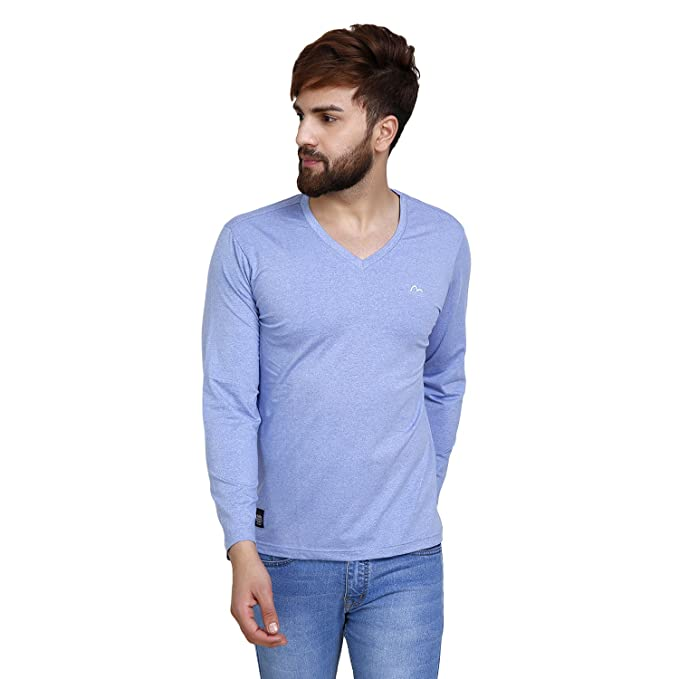 a88dc25cf2a5 Mudo Light Blue Solid Casual Full Sleeves Cotton T-Shirt for Men s   Amazon.in  Clothing   Accessories
