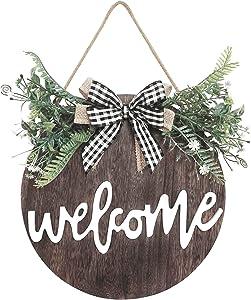 """Front Door Decor, Wooden Wreaths Hanging Spring Wreath 12"""" (Brown-Greenery)"""