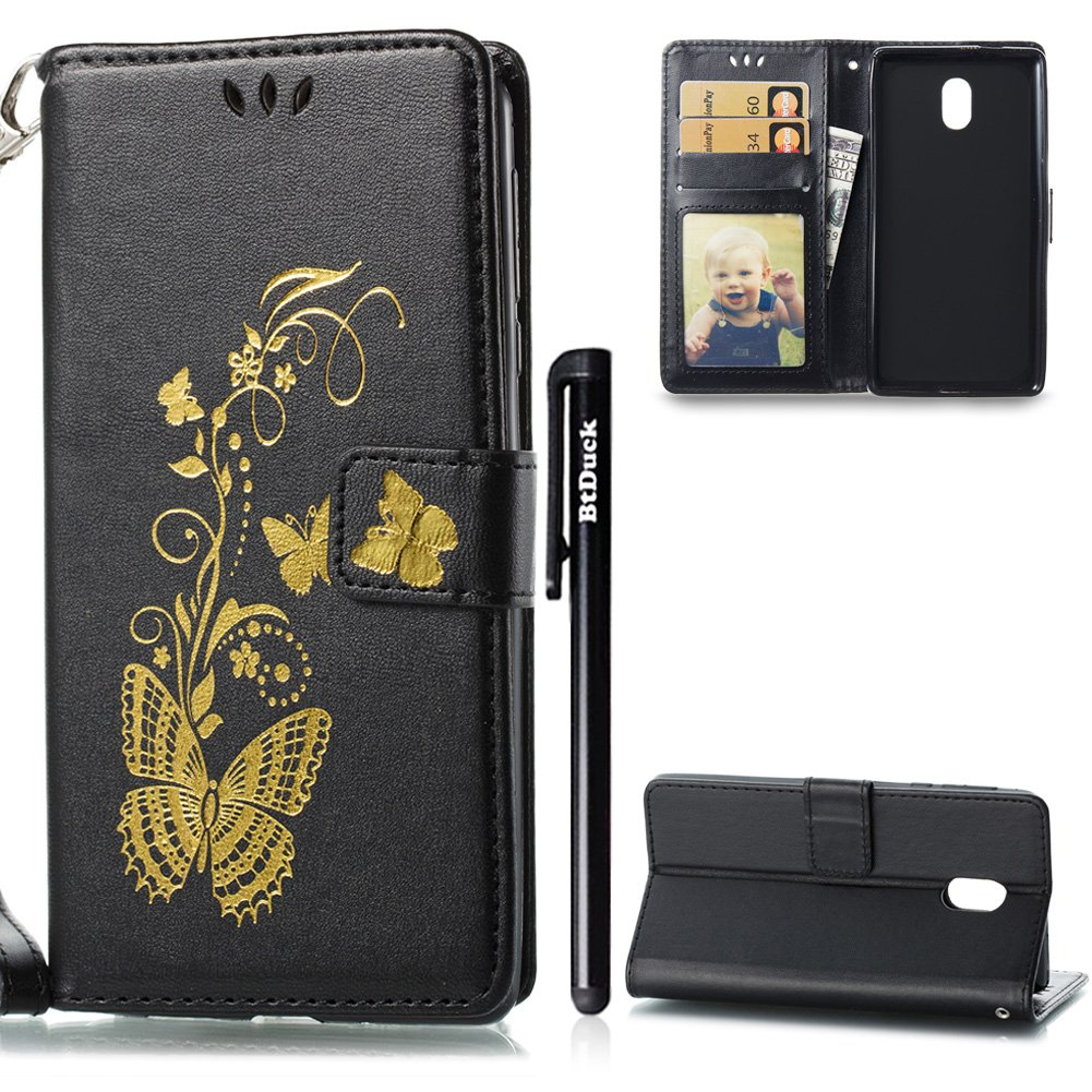 Case for Nokia 3, Nokia 3 Phone Case, BtDuck Leather Case Shockproof Phone Protector Strict Magnetic Closure Cover Anti-scratch Slim-fit Cover Clear Stand Flip Case Phone Accessories Inner Soft Silicone Case Butterfly with Card Holder Retro Flip Wallet Cas