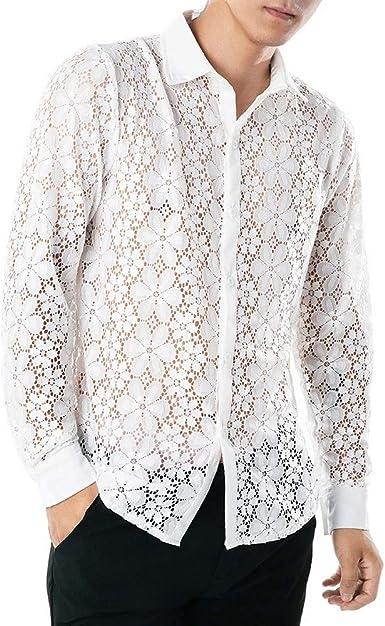 Camisa de Encaje de la Primavera para Hombre Camisas de Solapa de Manga Larga Hueca Superior para Club Nocturno Casual Slim Camisa Estampada Top Shirt Impresa: Amazon.es: Ropa y accesorios