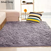 Bath Rugs lansiZD, Home Living Room Bedroom Floor Carpet Mat Soft Anti-Skid Rectangle Area Rug - Silver Gray 80 * 120cm