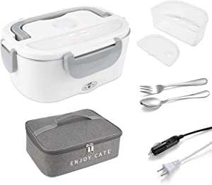 Electric Lunch Box,Food Heater 2 In 1 Portable Lunch Boxes for Car Truck Office,1.5L Removable Stainless Steel Food Warmer and Heater Container,Contain 1PCS Stainless Steel Fork&Spoon& Insulation Bag