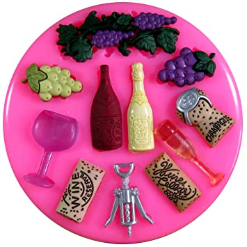 Los amantes del vino Champagne sacacorchos uvas vidrio Molde de silicona para la torta de Decoración Pastel de Cupcake Toppers Glaseado Sugarcraft Tool por ...