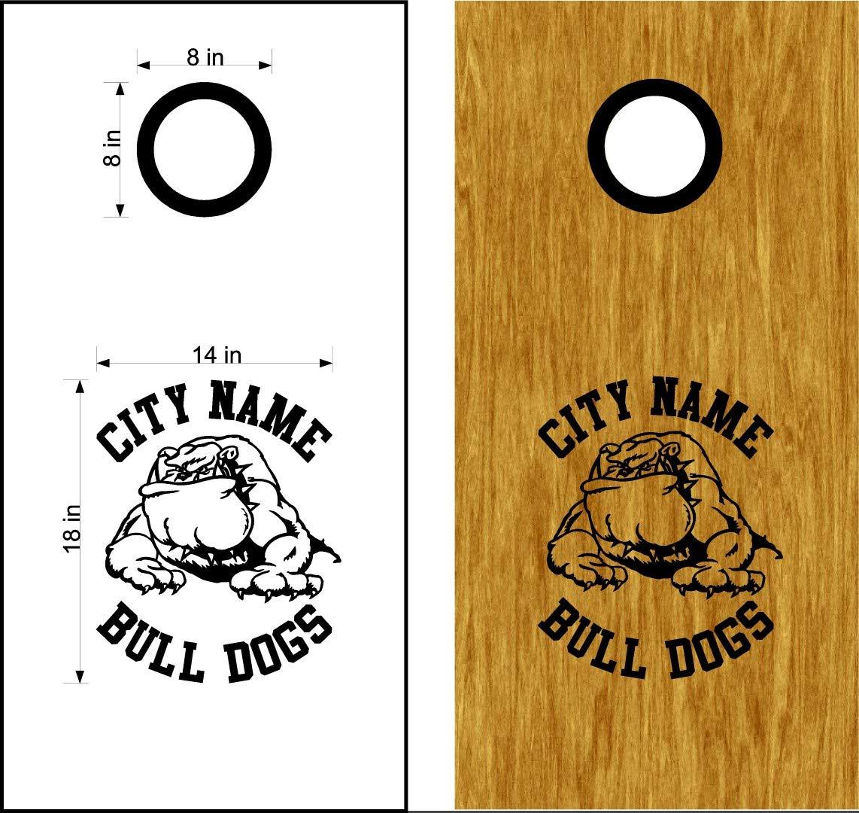 Bulldogs Mascot スポーツチーム コーンホールボード デカールステッカー 両方のボードに十分 B07HNZY9SH