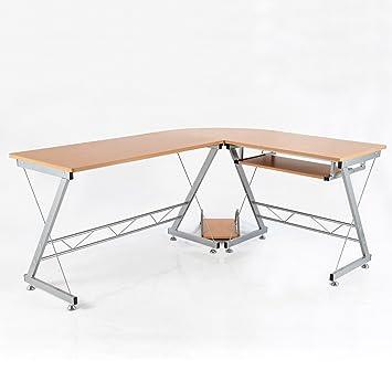 Amazon.com: HomCom 67-Inch L-Shaped Computer Desk - Brown: Kitchen ...