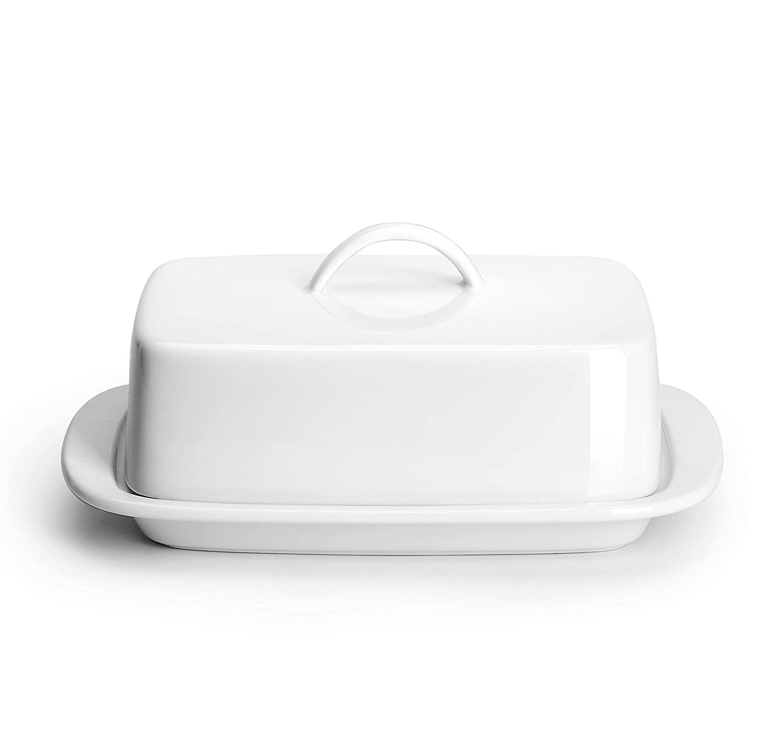 Sweese 312.101 Large Butter Dish with Handle Cover Design - Perfect for 2 Sticks of Butter and 8oz Butter - Porcelain, White