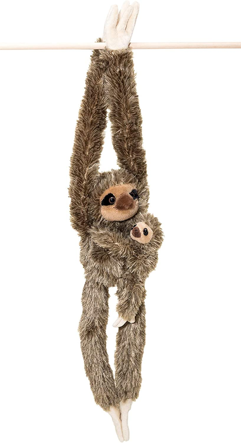 32-Inch Hanging Sloth Stuffed Animal With Baby - Ultra Soft Plush Design With Hands And Feet That Connect - Realistic Looking Three Toed Sloths - Bring These Popular Sloths Home To Kids Ages 3+