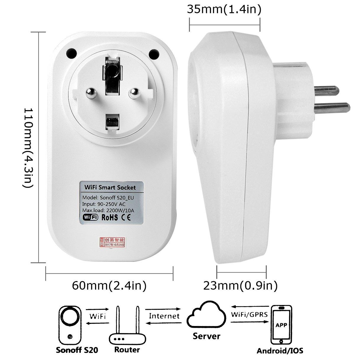 Sonoff S20 (Versión de Actualización) WIFI Enchufe Inteligente Inalámbrico Interruptor con Control Remoto y Temporizador para Amazon Echo, Echo Dot, ...