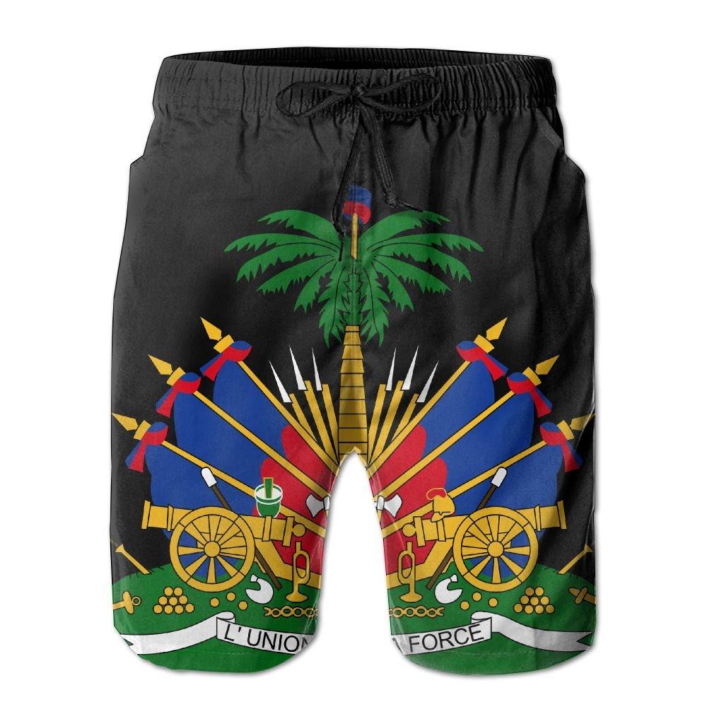 SOUL JCJ Coat of Arms of Haiti - Men's Summer Boardshorts Casual Swim Trunks Boardshort