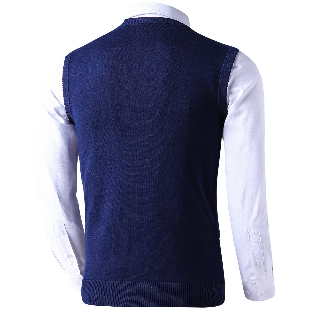 LTIFONE Mens Button Down Sweater Vest Basic Plain Short Sleeve Sweater Cardigan Sweaters Slim Fit with Ribbing Edge 1619