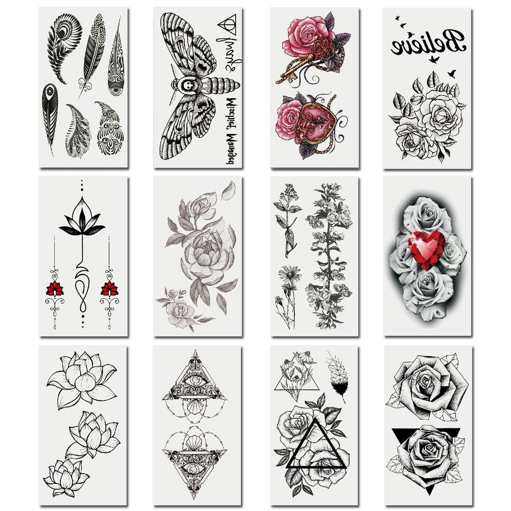TAFLY Vintage Flower Temporary Tattoos Fake Tattoo Stickers Body Art Tattoos for Women 12 Sheets