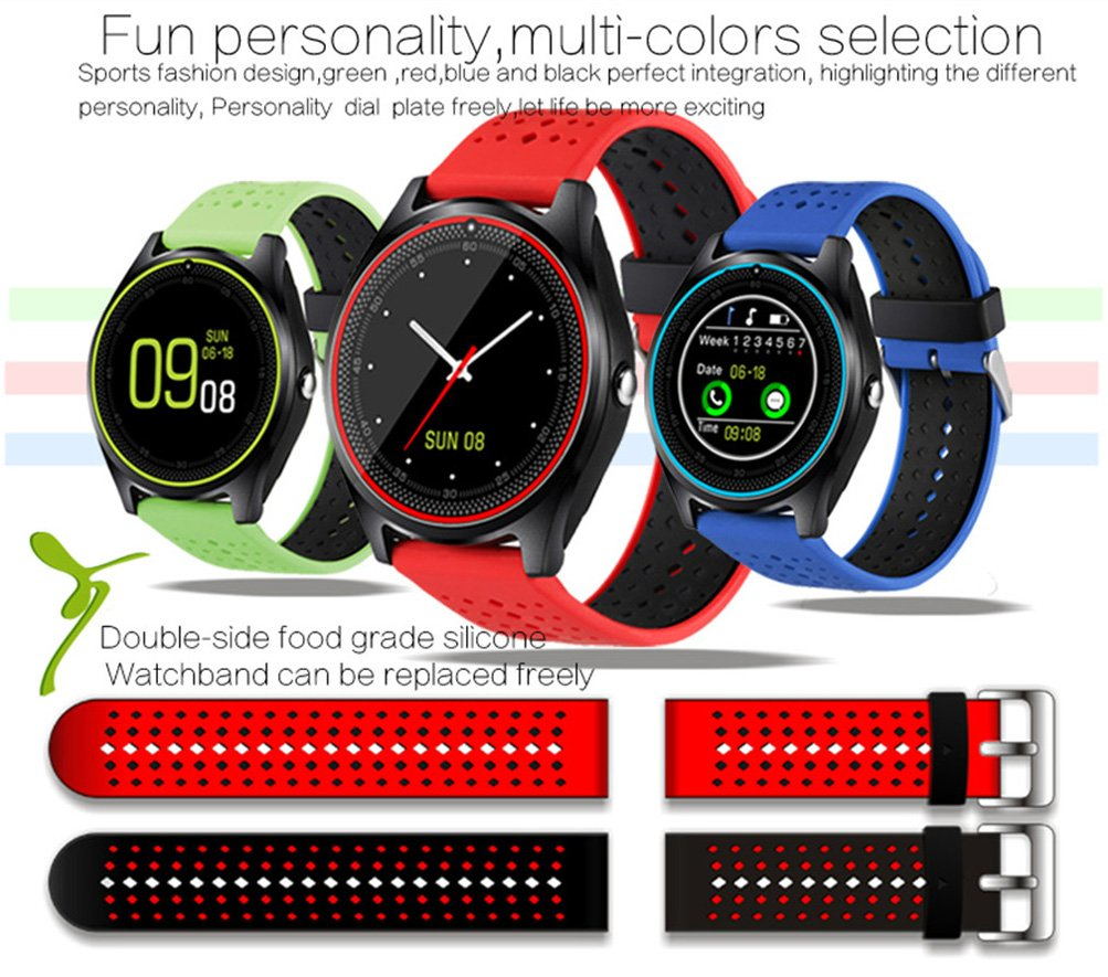 AIYIBEN V9 Bluetooth Smart Watch con pantalla táctil tarjeta ...