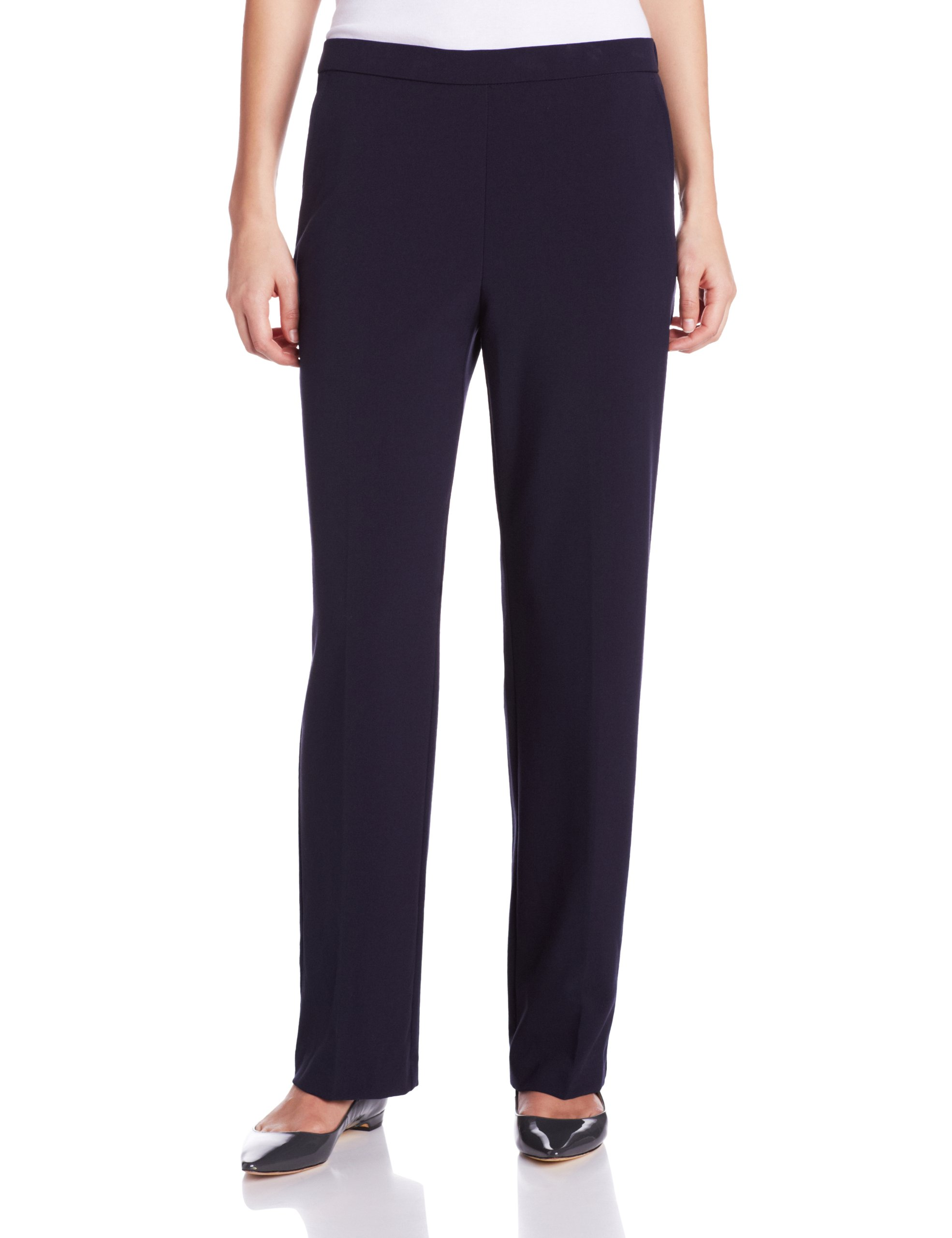 Briggs New York Women's Flat Front Pull On Pant with Slimming Solution, Navy, 12 Short