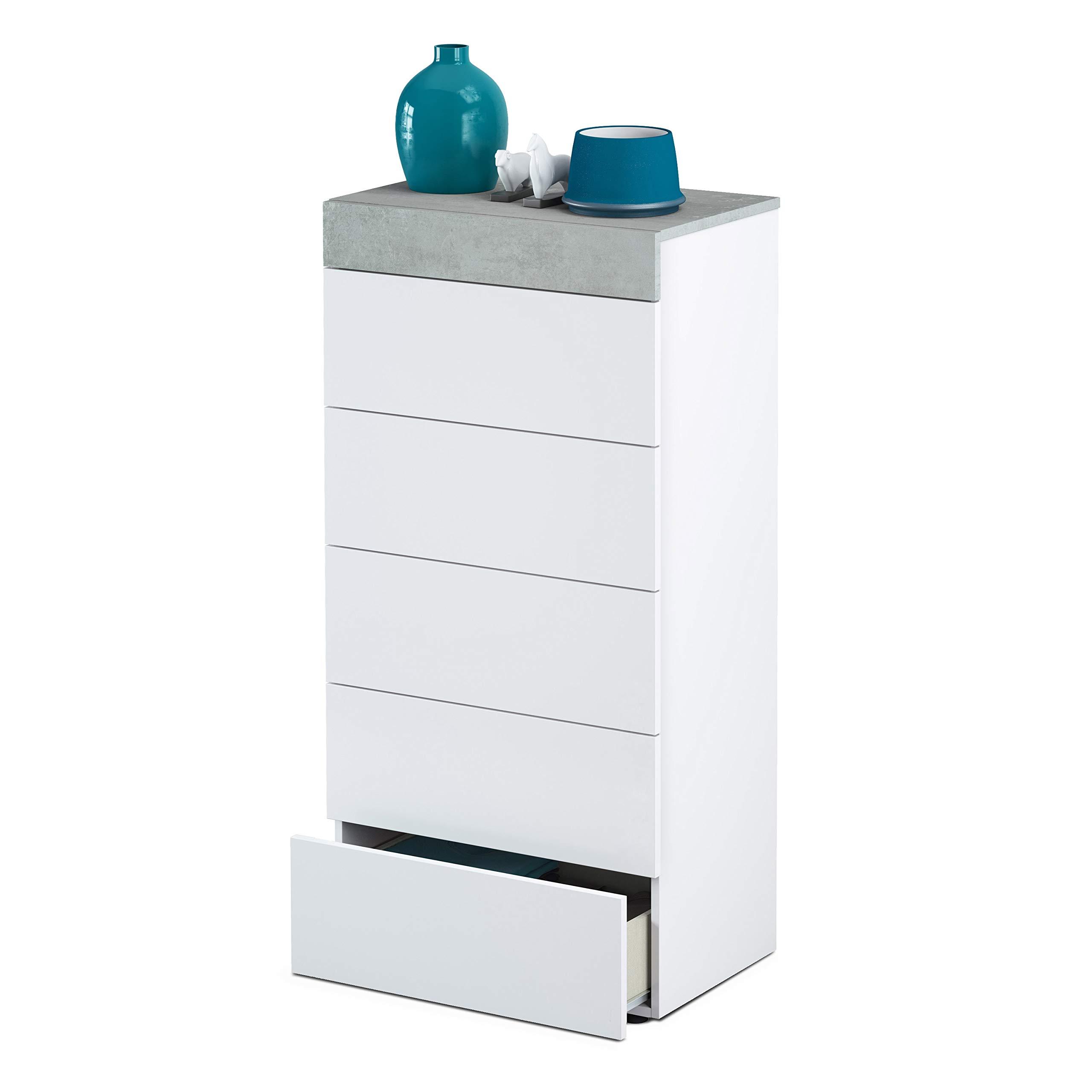 Habitdesign 0L7836A- Cómoda chinfonier 5 cajones, Acabado en Blanco Artik y Gris Cemento,