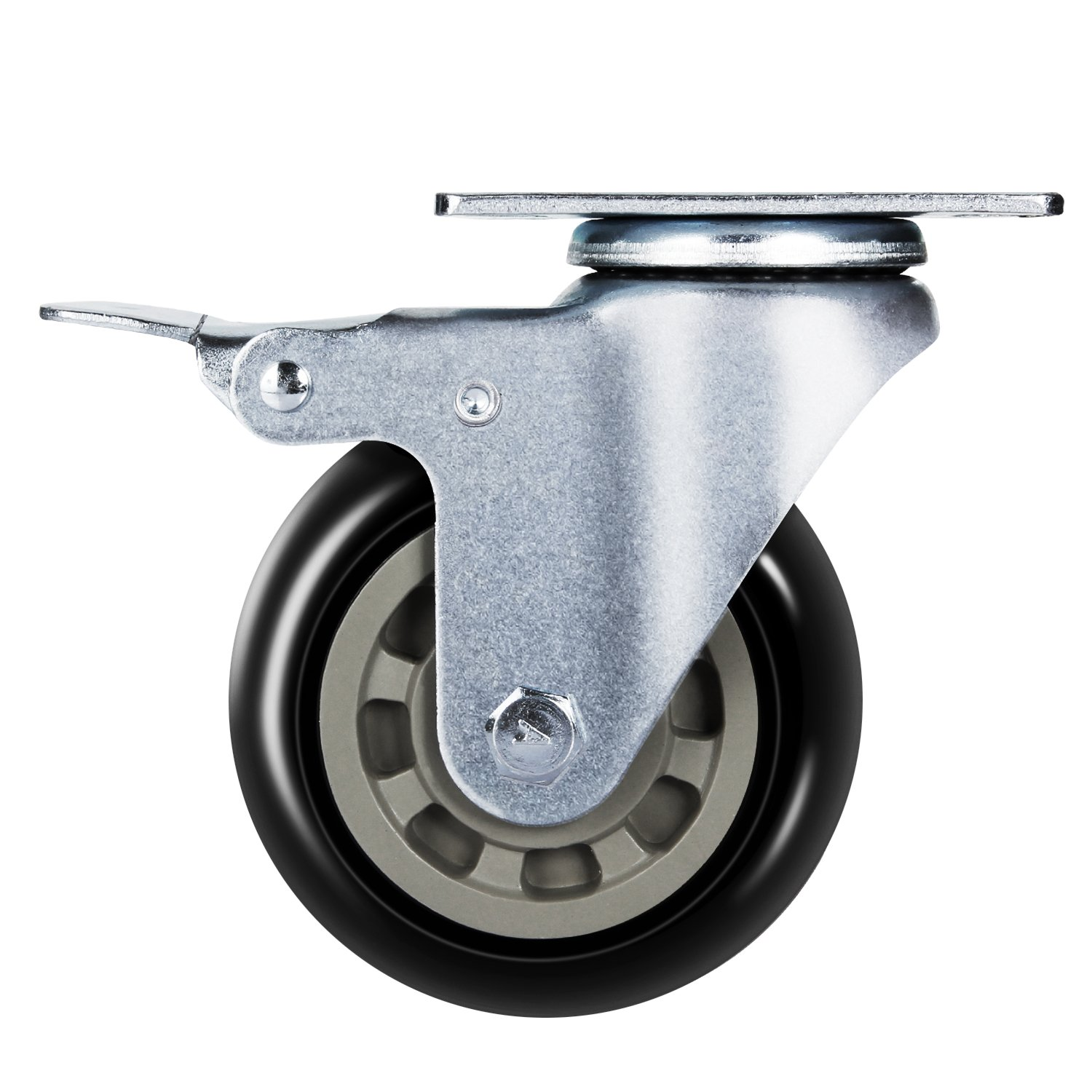 Antaprcis Caster Wheel Heavy Duty Swivel Wheels 360 Degree with Plate and Brake 4 Inches Set of 4 by Antaprcis (Image #3)