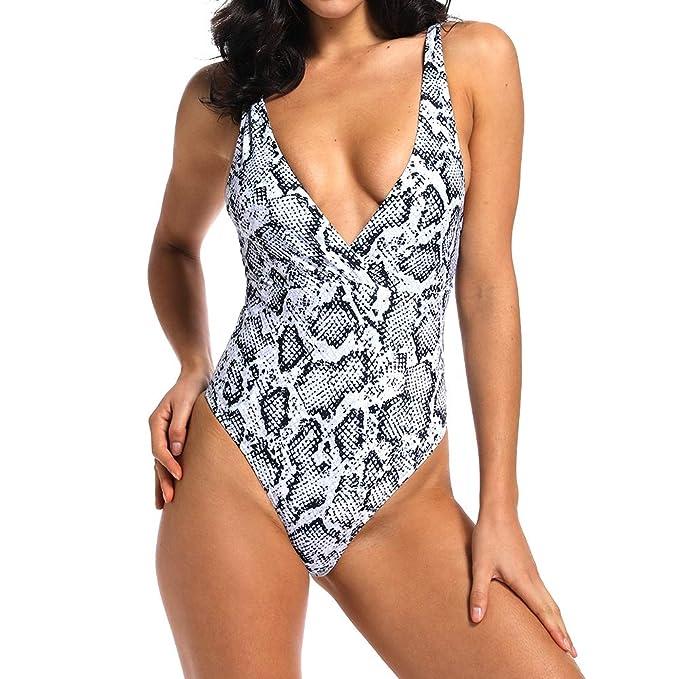 1803b9ec22007 YOFIT Sexy Women Deep V Neck Snakeskin Print High Cut Fashion One Pieces  Swimsuit S White at Amazon Women's Clothing store: