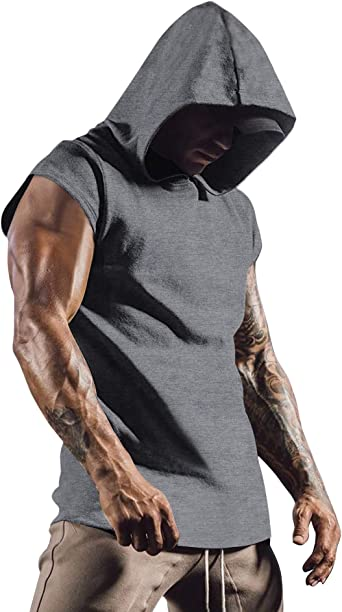 Gym Mens Short Sleeve Pullover Hoody Hooded Tank Tops Muscle Clothes T-Shirt