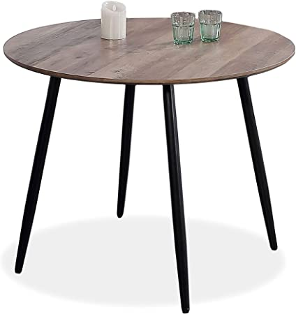 Adec - Suecia, Mesa de Comedor Redonda, Mesa de salón acabada en Color Nogal y Patas Negras, Medidas: 100 cm (Diámetro) x 75 cm (Alto): Amazon.es: Hogar