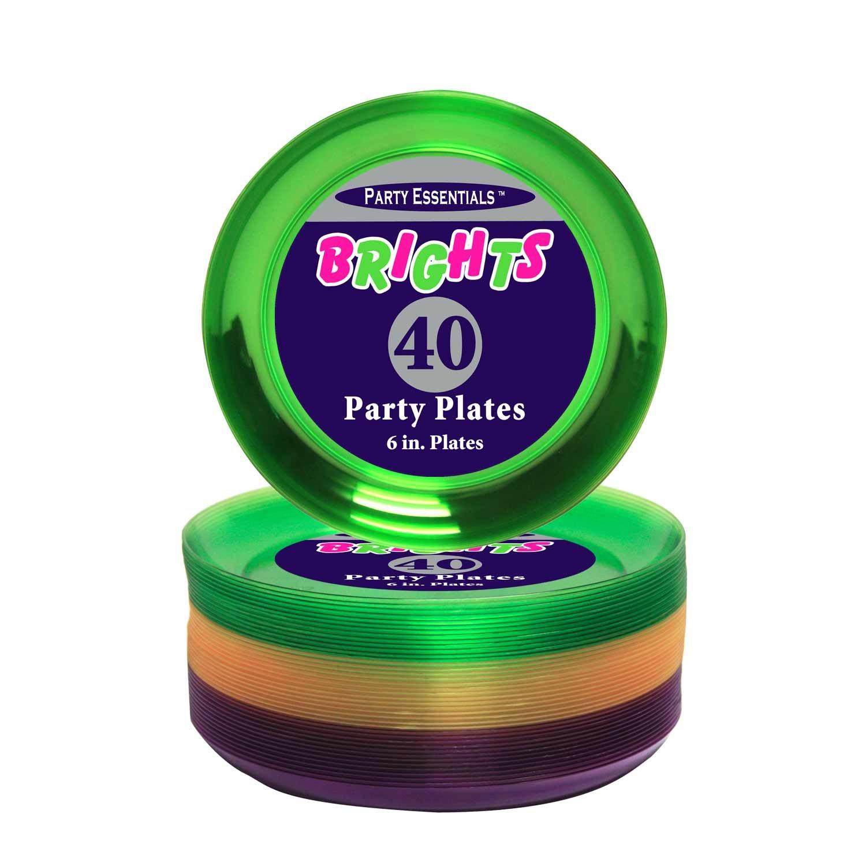 Party Essentials Hard Plastic 40 Count Round Party/Dessert Plates, 6-Inch, Mardi Gras Mix