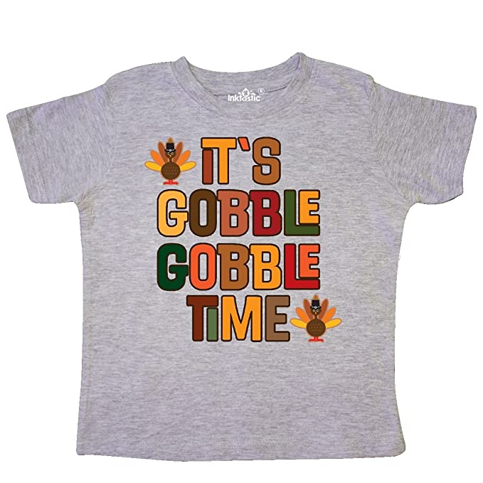 38e696c23 Amazon.com: inktastic - Thanksgiving Gobble Time Turkey Toddler T-Shirt  2d524: Clothing