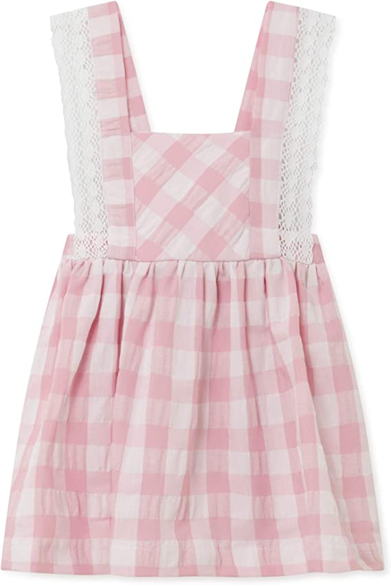 Lola Palacios Vestido para niñas. Tirantes. De algodón Combinado. con puntilla y Cuadros. Color Rosa, Rosa Pastel y Blanco. Niñas de 2 a 6 Años (3 A): Amazon.es: Ropa y accesorios