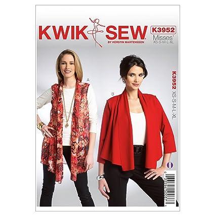 Amazon.com: Kwik Sew K3952 Misses Vest and Jacket Sewing Pattern ...