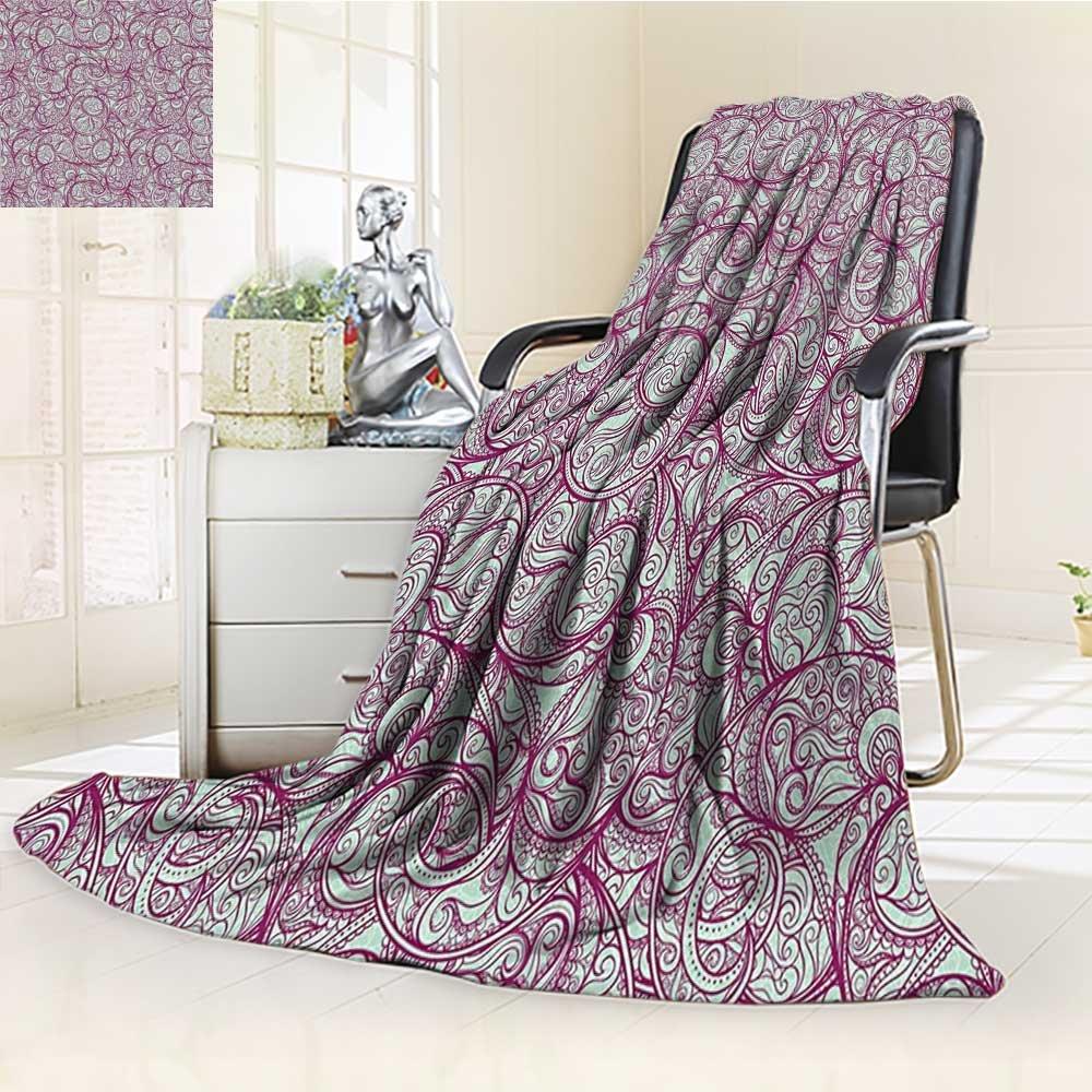 AmaPark Lightweight Blanket Bohemian StyleLeaf with Curly Petal Veins Lace Effect Plant Print Digital Printing Blanket high-quality