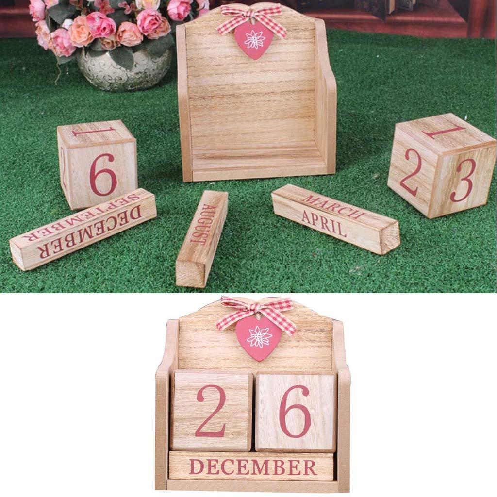 BINGHONG3 Bingong3 Calendrier perp/étuel Vintage en Bois Mois Date Calendrier /éternel Accessoires de Bureau D/écoration de Maison Bureau